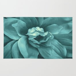 Soft Teal Flower Rug