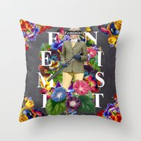 feminist Throw Pillows featuring Feminist by Samwise