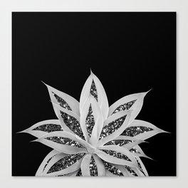 Gray Agave with Black Silver Glitter #2 #shiny #tropical #decor #art #society6 Canvas Print
