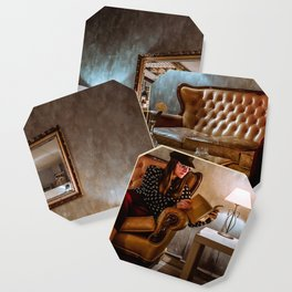 Young girl reading on the sofa in a cozy living room Coaster