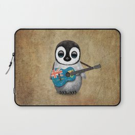 Baby Penguin Playing Turks and Caicos Flag Guitar Laptop Sleeve