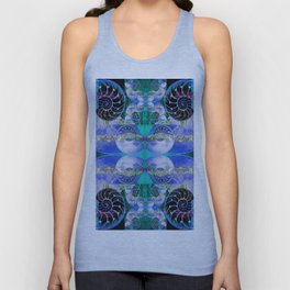 Brilliant Blue and Green Nautilus Fantasy Abstract Unisex Tank Top