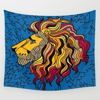 alex turner Wall Tapestries featuring Alex the Lion by Isaak_Rodriguez