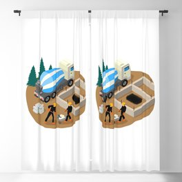 Vector isometric illustration of workers building foundation pad of a private house Blackout Curtain