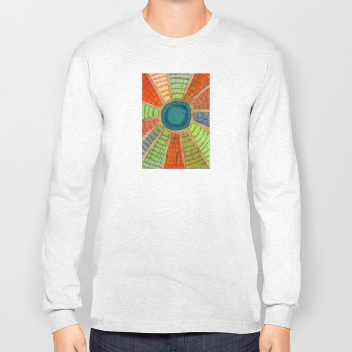 Blue radiating Sun Long Sleeve T-shirt