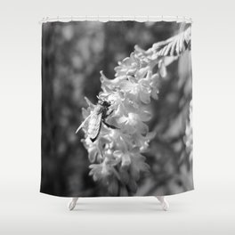 Bee2 and Blood Currant Ribes Sanguineum bw Shower Curtain