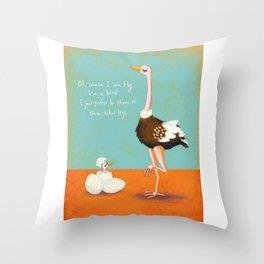 Confident Ostrich Throw Pillow