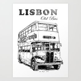 Lisbon Old Bus - Black and white- Sagres Beer-Portugal Art Print