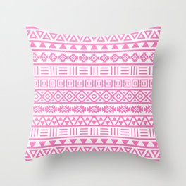Aztec Influence Pattern Pink on White Throw Pillow