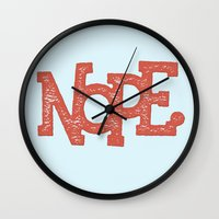 nope Wall Clocks featuring NOPE. by Josh LaFayette