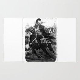 original rare WWII Cossack cavalyram Studio photo horseman sword Rug