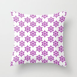 Ship Wheel (Purple & White Pattern) Throw Pillow