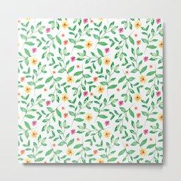 Dainty Leaves and Flowers Pattern Metal Print