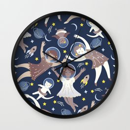 Girls in space Wall Clock