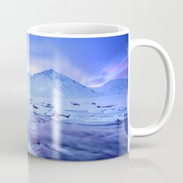 Freezing Mountain Lake Landscape : Blue Coffee Mug
