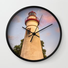 Marblehead Lighthouse at Sunset From the Shore Landscape Photograph Wall Clock