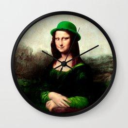 Lucky Mona Lisa - St Patrick's Day Wall Clock