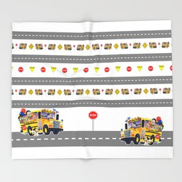 School Bus Fun Throw Blanket