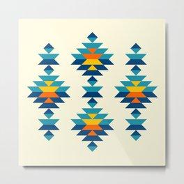 Bohemian southwest kilim rows Metal Print