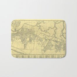 San Mateo, Burlingame, Hillsborough, San Carlos, Belmont Map 1938 Bath Mat