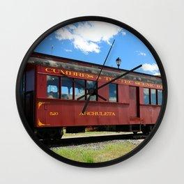 Red Railroad Car - Cumbres And Toltec Wall Clock