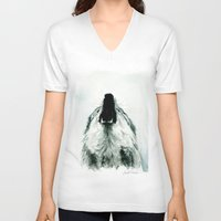 howl V-neck T-shirts featuring HOWL by Joelle Poulos