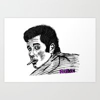 zuko Art Prints featuring Danny Zuko by Feral Doe