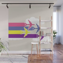 Colorful airplanes Wall Mural