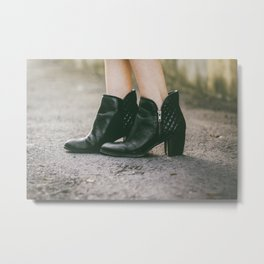 Leather Booties Metal Print