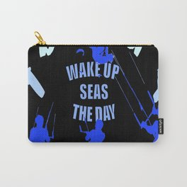Wake Up Seas The Day Kiteboarder Royal Blue Carry-All Pouch