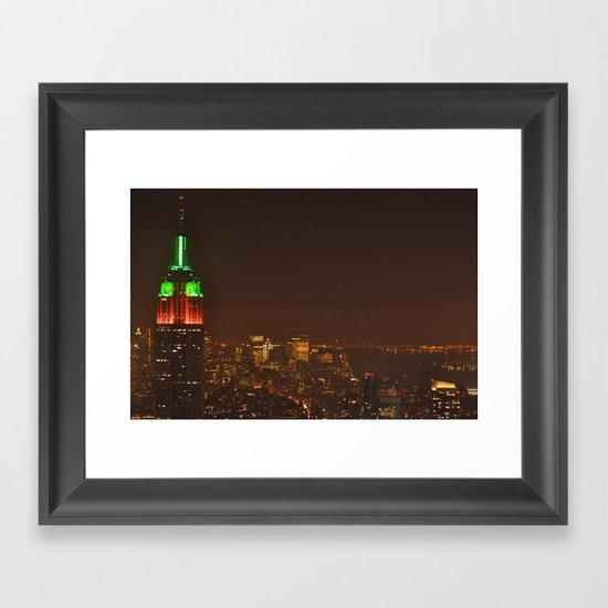 New York Skyline New Year's Eve 2010 Framed Art Print