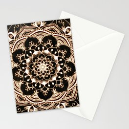 Glowing Spirit Black White Mandala Design Stationery Cards