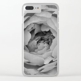 Blak and white rose Clear iPhone Case