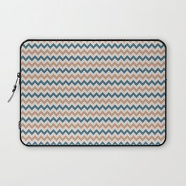 Brown Cream Blue Chevron Horizontal Line Pattern 2021 Color of the Year Canyon Dusk & Accent Shades Laptop Sleeve