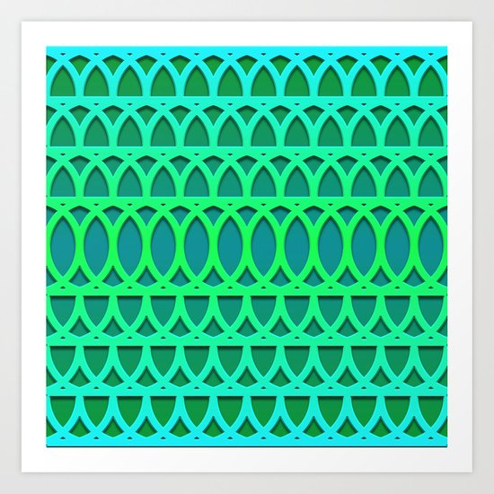Aqua/Green One Art Print