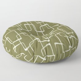Avocado Green Retro Geometric Pattern Floor Pillow