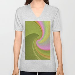 Pink and Green Curves Fractal Abstract Art Unisex V-Neck