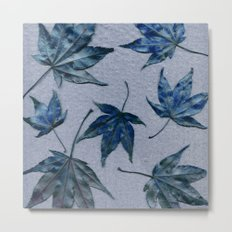 Japanese maple leaves - blue on faded lavender Metal Print