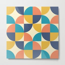 Mid Century Modern Geometric Pattern 444 Blue Yellow Orange Turquoise and Beige Metal Print