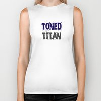 workout Biker Tanks featuring Workout Collection: Toned Titan by Kat Mun