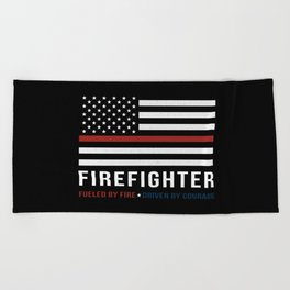 Fueled By Fire (Thin Red Line) Beach Towel