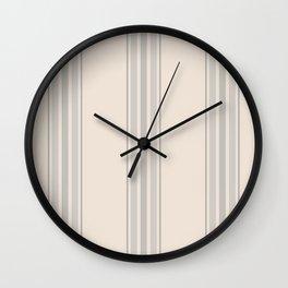 Simple Farmhouse Stripes in Gray on Beige Wall Clock