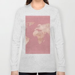 Rosegold World Map Sans Type Long Sleeve T-shirt