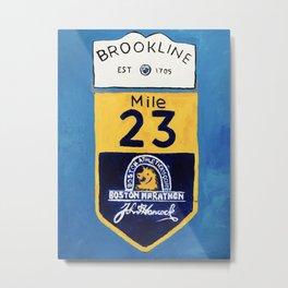Boston Marathon, Brookline Mile Marker 23 Metal Print