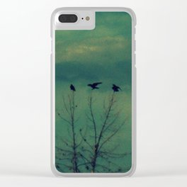 Ravens Come Gathering in a Soft Turquoise Sky Clear iPhone Case