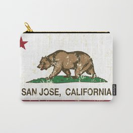 San Jose California Republic Flag Distressed  Carry-All Pouch