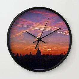 Hôtel des Invalides in Crazy Pink Sunrise Wall Clock