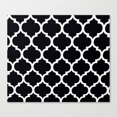 Morocan Black and White Lattice Moroccan Pattern Canvas Print