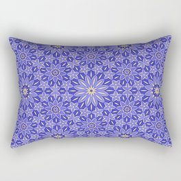 Rings of Flowers - Color: Royal Blue & Gold Rectangular Pillow