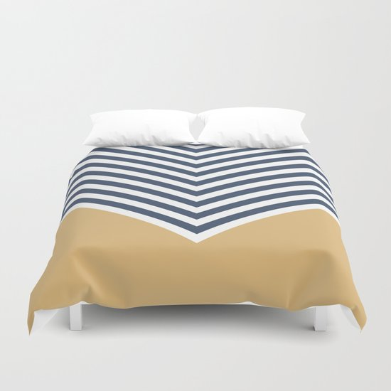 Gold & Navy Chevron Duvet Cover
